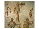 Preparations for a Banquet, Fragment of Marble, Limestone and Glass Mosaic Pavement from Carthage Giclee Print