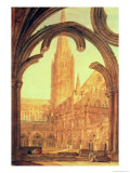South View of Salisbury Cathedral from the Cloisters Giclee Print by William Turner