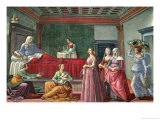 The Birth of St. John the Baptist Giclée-tryk af Domenico Ghirlandaio
