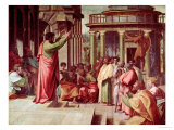 St. Paul Preaching at Athens (Sketch for the Sistine Chapel) (Pre-Restoration) Reproduction procédé giclée par  Raphael