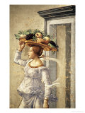 Woman Carrying Fruit, from the Birth of St. John the Baptist (Detail) Premium Giclee Print by Domenico Ghirlandaio