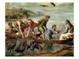 The Miraculous Draught of Fishes (Sketch for the Sistine Chapel) (Pre-Restoration) Impression giclée par  Raphael