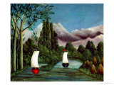 The Banks of the Oise, 1905 Premium Giclee Print by Henri Rousseau