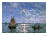 Fishing Boats by Moonlight Giclee Print by Alfred Wahlberg