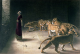 Daniel in the Lions Den, Mezzotint by J. B. Pratt, with Hand Colouring Impressão giclée por Briton Rivière