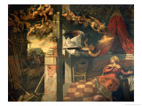 The Annunciation (panel) Giclée-Druck von Jacopo Robusti Tintoretto