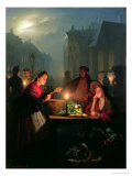 A Vegetable Stall at Night Giclee Print by Petrus van Schendel