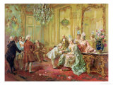 The Presentation of the Young Mozart to Mme De Pompadour at Versailles in 1763 Reproduction giclée Premium par Vicente De Paredes