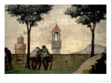 Men Looking over a Wall, from the Visitation (Detail) Giclee Print by Domenico Ghirlandaio