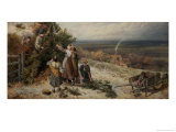 Holly Gatherers Giclee Print by Myles Birket Foster