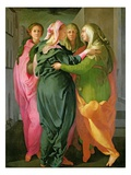 The Visitation, 1528-30 (Fresco) (See 208284 and 60439 for Details) Giclee-tryk i høj kvalitet af Jacopo da Carucci Pontormo