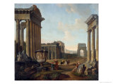 Figures Amidst a Capriccio of Ruins Giclee Print by Giovanni Paolo Pannini