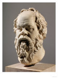 Socrates, Marble Head, Copy from a Bronze from the Pompeion in Athens Giclée-Druck