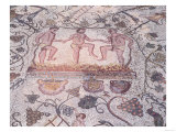 Pressing the Grapes: Roman Mosaic from a Room in the Amphitheatre, Merida, Badajoz Giclee Print