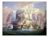 The Battle of Trafalgar, the Beginning of the Action, 21st October 1805 Premium Giclee Print by William John Huggins