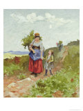 French Peasants on a Path Giclee Print by Daniel Ridgway Knight
