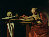 St. Jerome Writing, circa 1604 Reproduction proc&#233;d&#233; gicl&#233;e par Caravaggio 