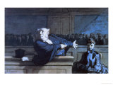 Scene at a Tribunal Premium Giclee Print by Honore Daumier