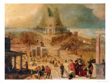 The Building of the Tower of Babel Giclée-Druck von Hendrick Van Cleve