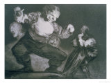 "Simpleton, Plate 4 of ""Proverbs,"" 1819-23, Published 1864 Giclee Print by Francisco de Goya"