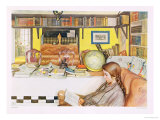 "The Reading Room, Published in ""Lasst Licht Hinin"",(""Let in More Light"") 1909 Giclee Print by Carl Larsson"