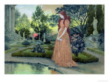 Young Girl in a Garden Giclee Print by Eugene Grasset
