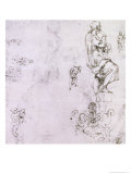 Sketches of Male Nudes, a Madonna and Child and a Decorative Emblem Giclee Print by  Michelangelo Buonarroti