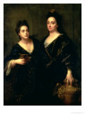 Portrait of Two Actresses, 1699 Giclee Print by Jean-Baptiste Santerre