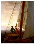 On Board a Sailing Ship, 1819 Reproduction procédé giclée par Caspar David Friedrich