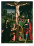 Crucifixion with the Virgin, Mary Magdalene and St. John the Evangelist Reproduction proc&#233;d&#233; gicl&#233;e par Nicol&#242; dell&#39; Abate