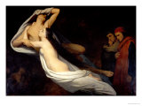 Francesca Da Rimini and Paolo Da Verrucchio Appear to Dante and Virgil Giclee Print by Ary Scheffer