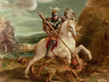 St. George Slaying the Dragon Reproduction procédé giclée par Hans von Aachen