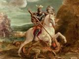 St. George Slaying the Dragon Giclée-tryk af Hans von Aachen