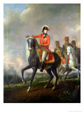 Equestrian Portrait of the Duke of Wellington with British Hussars on a Battlefield, 1814 Premium Giclee Print by Nicolas Louis Albert Delerive