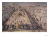 A Game of Football in the Piazza Santa Maria Novella, Florence, 1555 Giclee Print by Jan van der Straet