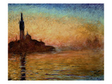 View of San Giorgio Maggiore, Venice by Twilight, 1908 Giclee Print by Claude Monet