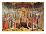 The Virgin Enthroned with Saints Jerome, Gregory, Ambrose and Augustine, 1446 Giclée-Druck von Antonio & D'alemagna Vivarini