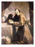 St. Francis of Assisi at Prayer Giclée-tryk af Giovan Andrea Sirani