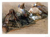 Group of Arab Figures, Two Smoking a Cubuk Giclee Print by David Roberts