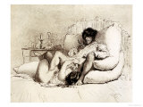 Woman Masturbating a Man on a Bed, Plate 18 from &quot;Liebe,&quot; Published 1901 in Leipzig Giclee Print by Mihaly von Zichy