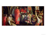 Clement IV Delivering Arms to the Leaders of the Guelph Party Giclée-Druck von Giorgio Vasari