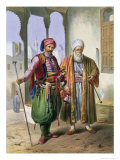 "A Janissary and a Merchant in Cairo, Illustration from ""The Valley of the Nile"" Reproduction procédé giclée par Achille-Constant-Théodore-Émile Prisse d'Avennes"