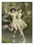Two Ladies on a Swing, Illustration from &quot;Les Sylphides&quot; Giclee Print by Charles Bargue