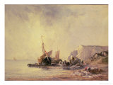Boats by the Normandy Shore, circa 1823 Giclee Print by Richard Parkes Bonington