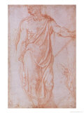 Sketch of a Man Holding a Staff and a Study of a Hand Giclee Print by  Michelangelo Buonarroti