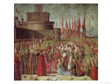 The Pilgrims Meet Pope Cyriac Before the Walls of Rome, from the St. Ursula Cycle, 1498 Gicle-tryk af Vittore Carpaccio