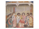 Christ Washing the Disciples' Feet, circa 1305 (Pre-Restoration) Giclee Print by  Giotto di Bondone
