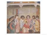 Christ Washing the Disciples' Feet, circa 1305 (Pre-Restoration) Giclee Print by  Giotto di Bondone