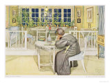 "The Evening Before the Journey to England - Study Room, Published in ""Lasst Licht Hinin"" Giclee Print by Carl Larsson"