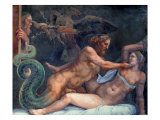 Olympia is Seduced by Jupiter, Whose Thunderbolt is Seized by an Eagle Giclee Print by Giulio Romano